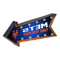 NY New York Mets Arrow Marquee Sign - Light Up - Room Bar De