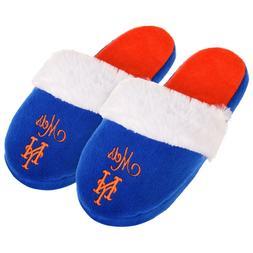 NY New York Mets Womens Colorblock Fur Slide Slippers MLB Ne
