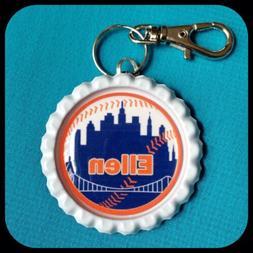 PERSONALIZED Name NEW YORK METS Bottle Cap Pendant Zipper Pu