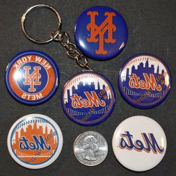 """Set of 5 1 1/2"""" Pinback Buttons New York METS + Key Chain Re"""