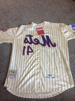 TOM SEAVER New York Mets #41 XXL PINSTRIPE Cream JERSEY Sz 5