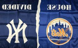 New York Yankees vs Mets MLB House Divided Flag 3x5 ft Sport