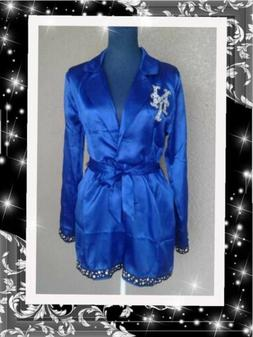 Womens NEW YORK METS pajama romper blue deep V-neck belt seq